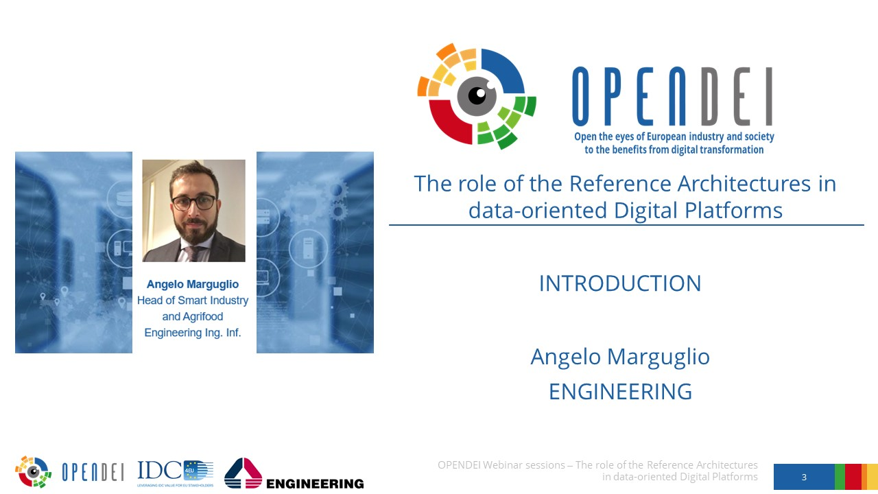 """Introduction – OPEN DEI Webinar """"The role of the Reference Architectures in Data-oriented Digital Platforms"""""""