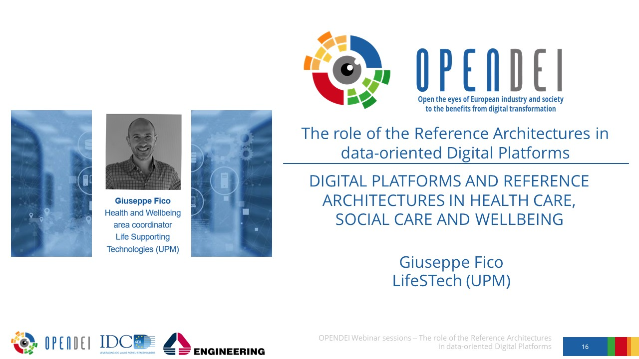 """Digital Platforms and Reference Architectures in Healthcare, Social care and Wellbeing – OPEN DEI Webinar """"The role of the Reference Architectures in Data-oriented Digital Platforms"""""""