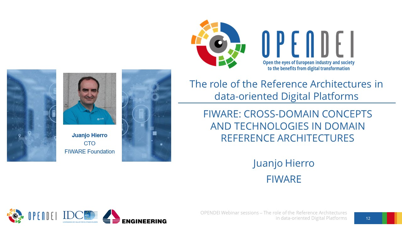 "FIWARE: Cross-domain concepts and technologies in domain Reference Architectures – OPEN DEI Webinar ""The role of the Reference Architectures in Data-oriented Digital Platforms"""