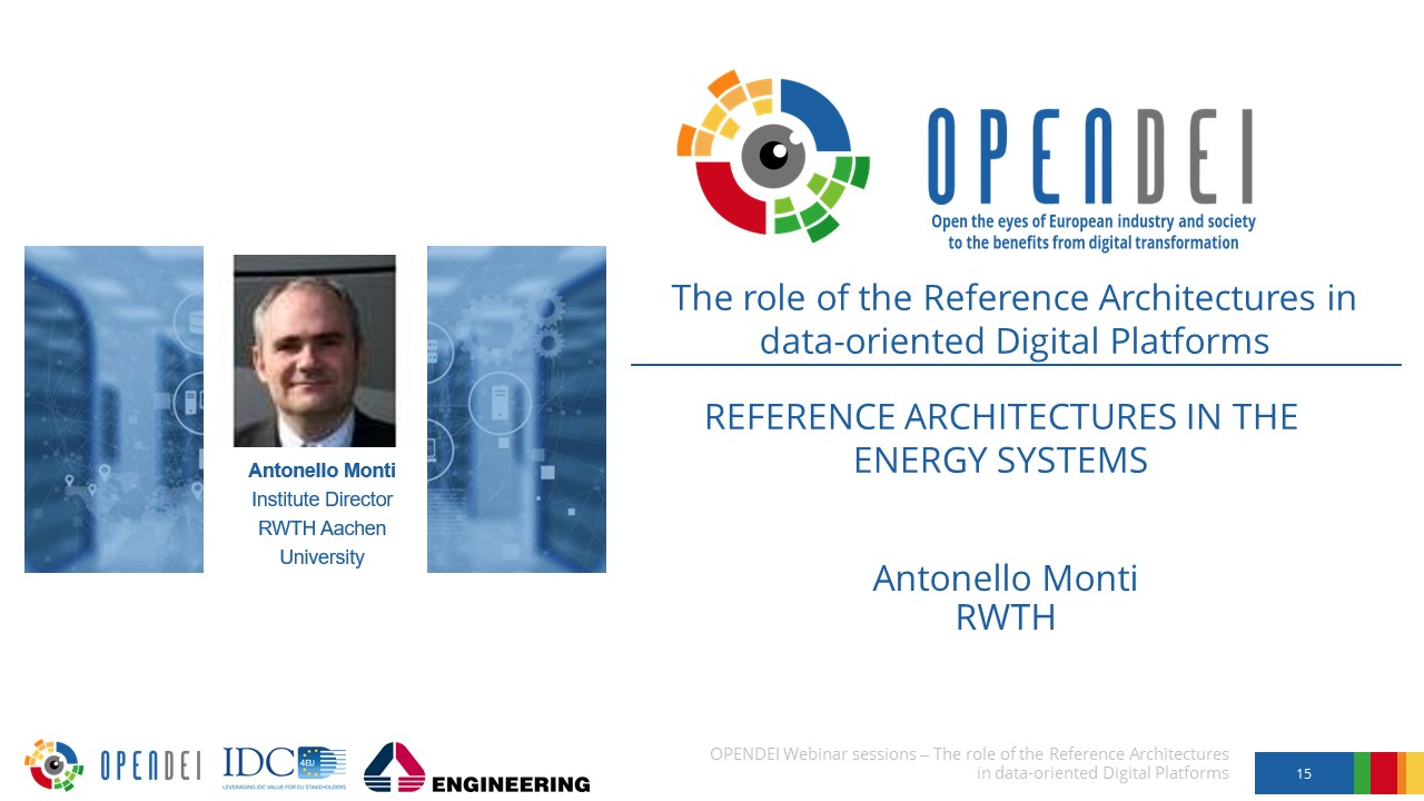 """Reference Architectures in the Energy systems – OPEN DEI Webinar """"The role of the Reference Architectures in Data-oriented Digital Platforms"""""""