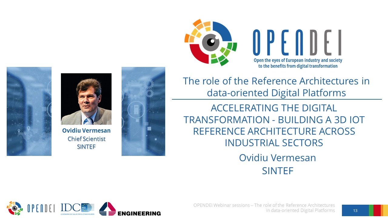 "Building a 3D IoT Reference Architecture across industrial sectors – OPEN DEI Webinar ""The role of the Reference Architectures in Data-oriented Digital Platforms"""