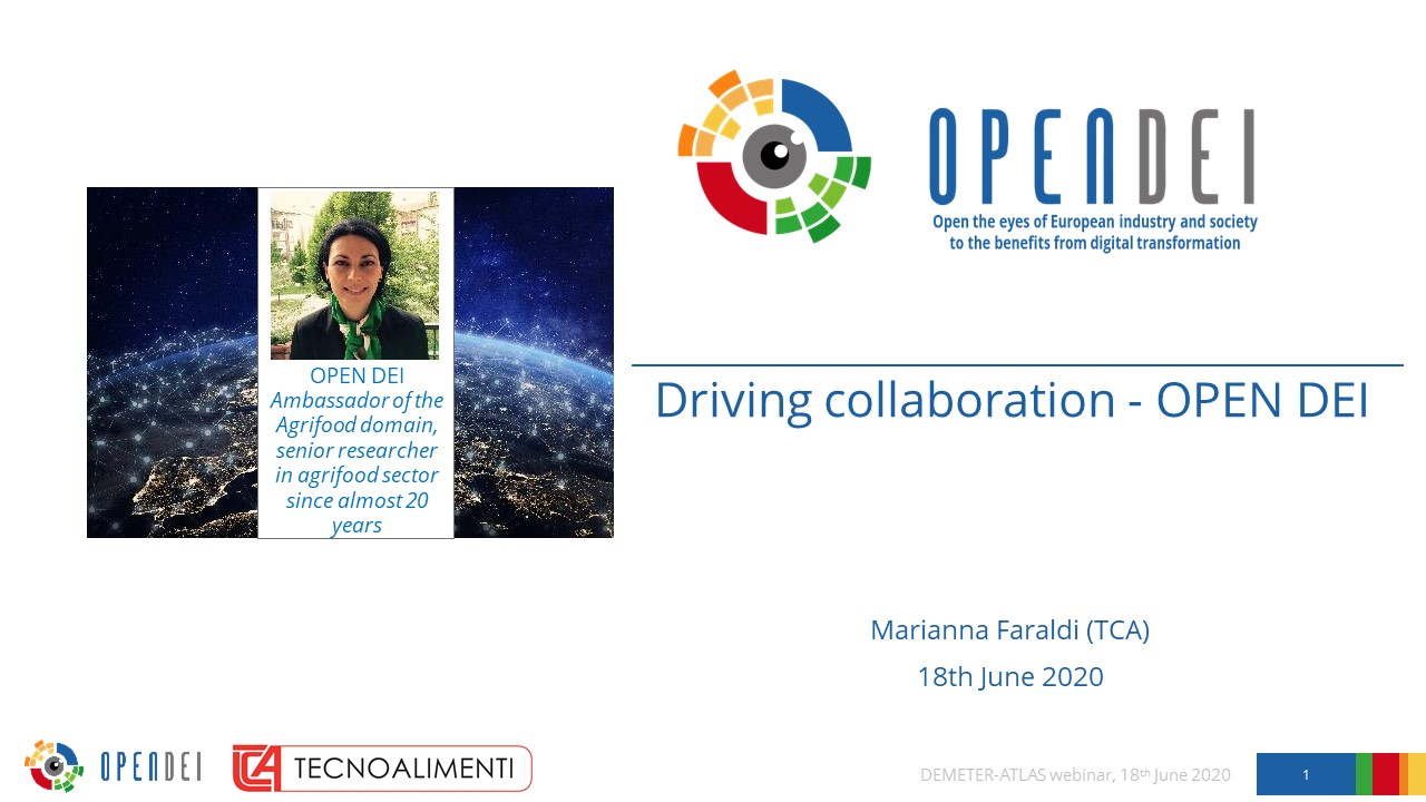 "Driving collaboration – OPEN DEI – DEMETER & ATLAS Webinar ""H2020 Agri-Tech Research in Europe"""